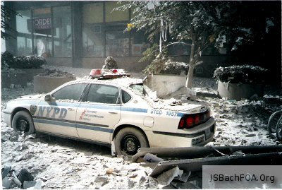 Police Car outside WTC on September 11, 2001 - Never Forget